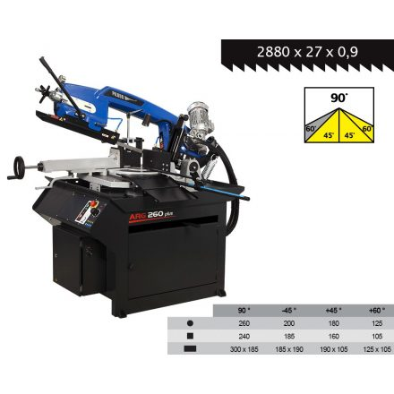 PILOUS ARG260PLUS-E gravitációs szalagfűrészgép